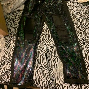Sequin ripped front jeans
